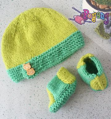 17.04.B: Hat and Booties Baby set - For Him