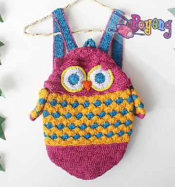 17.01.Z: Owl Mini Backpack Crochet